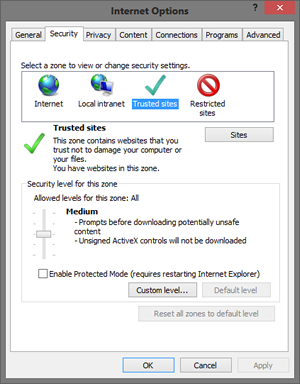 IE Zones Dialog screenshot.